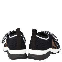 Fendi Black Mesh FF Rockoko low-top Sneakers Size EU 36