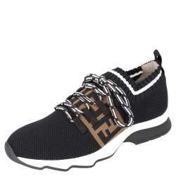 Fendi Black Mesh FF Rockoko low-top Sneakers Size EU 38