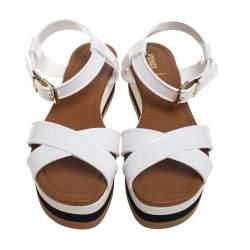 Fendi White Patent Leather Platform Crisscross Sandals Size 40