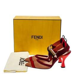 Fendi Multicolor Mesh And Fabric Colibri Slingback Sandals Size 40