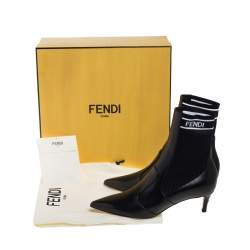 Fendi Black Leather And Knit Fabric Rockoko Pointed Toe Ankle Booties Size 37
