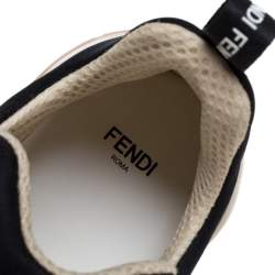 Fendi Black/Brown Zucca Mesh Ffluid Lace Up Sneakers Size 40