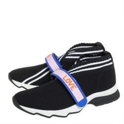Fendi Black Knit Fabric Rockoko Low Top Sneakers Size 37