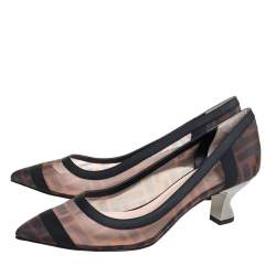 Fendi Black /Brown FF Printed Mesh And Leather Trim Colibri Pointed Toe Pumps Size 37