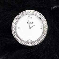 Fendi White Stainless Steel My Way Fur Glamy 35000M Women's Wristwatch 36 mm