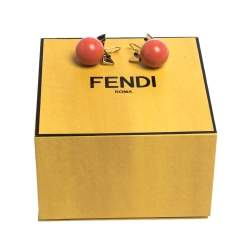 Fendi Crystal Wonder Coral Bead Gold Tone Hook Earrings