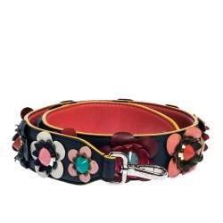 Fendi Multicolor Leather Floral Applique Interchangeable Shoulder Strap