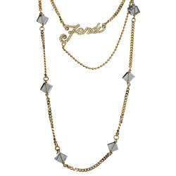 Fendi Logo Crystal Gold Tone Multi Strand Station Necklace
