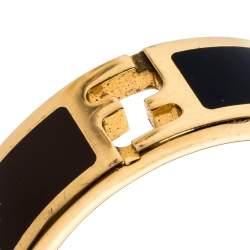 Fendi The Fendista Bi-color Enamel Gold Tone Band Ring Size 59