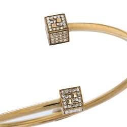 Fendi Crystal FF Cube Gold Tone Cuff Bracelet
