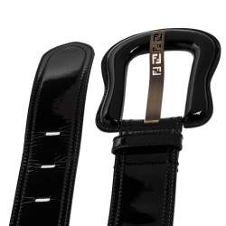 Fendi Black Patent Leather B Buckle Belt 80CM