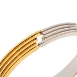Fendi Two Tone Ribbed Cuff Bracelet M