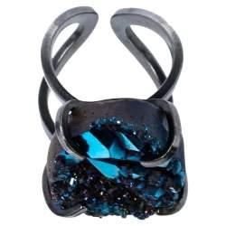 Fendi Palladium Plated Druzy & Crystal Ring Size EU 50.5