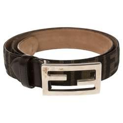 Fendi Tobacco Zucca Canvas FF Buckle Belt Size 95