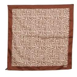 Fendi Tobacco Brown Logo Print Cotton Scarf