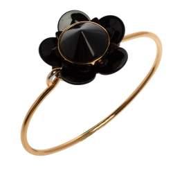 Fendi Gold Tone Black Flowerland Bracelet S