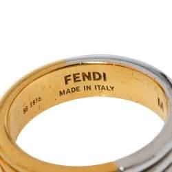 Fendi The Fendista Two Tone Narrow Band Ring M