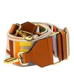Fendi Multicolor Zucca Canvas and Leather Strap You Guitar Bag Strap