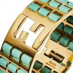 Fendi Light Green Leather Gold Tone Fendista Wide Cuff Bracelet