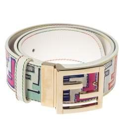 Fendi Multicolor Zucca Coated Canvas FF Logo Belt 80CM