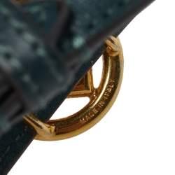Fendi F Is Fendi Green Leather Gold Tone Double Wrap Bracelet S