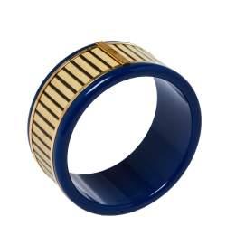 Fendi Blue Resin & Paneled Wood Wide Bangle