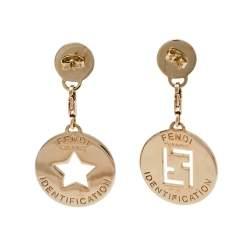 Fendi Gold Tone Identification Star Cut Out Drop Earrings