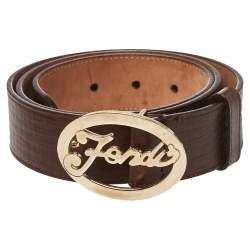 Fendi Brown Textured Leather Logo Buckle Belt 90 CM