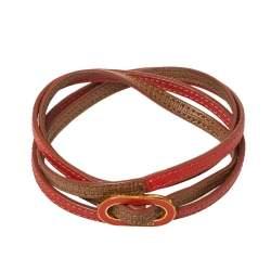 Fendi Coral & Beige Leather Crayons Multi Wrap Bracelet