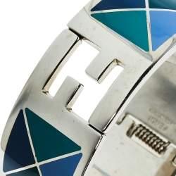 Fendi Multicolor Geometric Enamel Fendista Cuff Bracelet M
