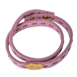 Fendi Pink Selleria Leather Double Wrap Bracelet