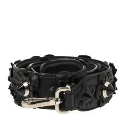 Fendi Black Flowerland Leather Strap You Shoulder Bag Strap