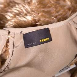 Fendi Brown Faux Feather Textured Maxi Dress S