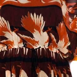 Fendi Maroon Parakeet Print Silk Embellished Tiered Dress M