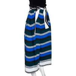 Fendi Multicolor Wave Printed Cotton Wide Leg Trousers M