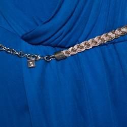 Fendi Blue Draped Jersey Embellished Shoulder Detail Belted Dress M