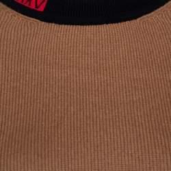 Fendi Sand Brown Cashmere Blend MCMXXV Detail Asymmetric Sweater M