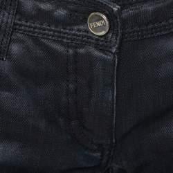 ببنطلون جينز فندي أرجل مستقيمة دنيم مقوى أسود مقاس صغير (سمول)