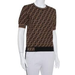 Fendi Black & Brown Zucca Monogram Intarsia Knit Top M