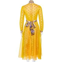 Fendi Yellow Logo Embroidered Sheer & Mesh Overlay Belted Midi Dress S