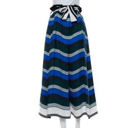 Fendi Multicolor Printed Cotton High Waist Belted Culottes L