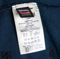 تنورة فندي متوسطة الطول مطرز شعار الماركة تريكو أزرق مخضر مقاس صغير (سمول)