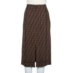 تنورة فندي متوسطة قصات مونوغرام زوكا شبك بني مقاس وسط (ميديوم)