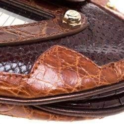 Fendi Brown Python and Croc Mirrored Vanity Shoulder Bag