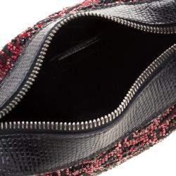 Fendi Black/Red Lizard Skin and Beaded Fabric Oyster Hobo