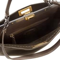 Fendi Fatigue Green Selleria Leather Large Peekaboo Top Handle Bag