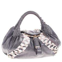 Fendi Grey Limited Edition Beaded Spy Bag