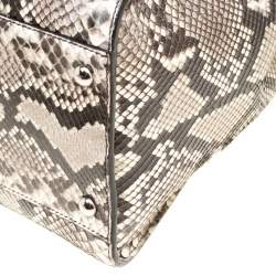 Fendi Beige Python with Suede and Python Lining Large Peekaboo Top Handle Bag