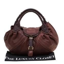 Fendi Brown Pebbled Leather Spy Bag