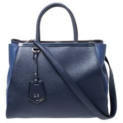 Fendi Blue Two Tone Leather Medium 2Jours Tote